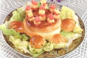 Pain en forme de tortue au fromage mortadelle et olive