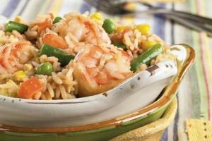 Riz aux légumes et crevettes