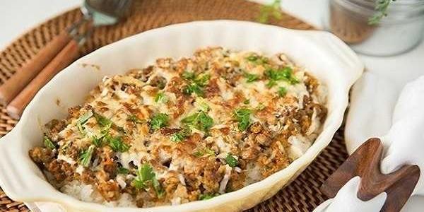 Gratin de riz à la viande hachée